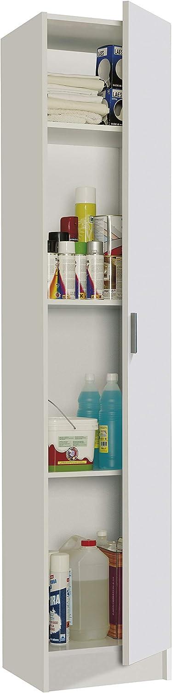 Habitdesign 007141O - Mueble Armario Multiusos, 1 Puerta, Color Blanco, Medidas: 37 cm (Largo) x 182 cm (Alto) x 37 cm (Fundo)