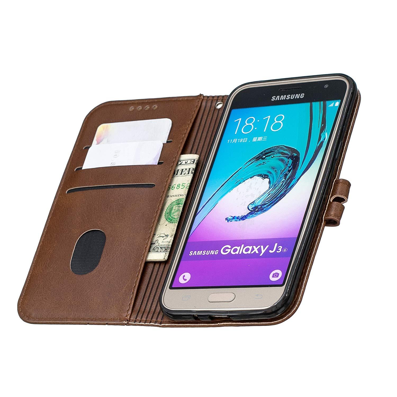 LOHEX120132 Jaune Housse en Cuir avec Porte Carte Fermeture par Rabat Aimant/é Antichoc /Étui Case pour Samsung Galaxy J3 2016//J320F Lomogo Coque Galaxy J3//J3 2016 Portefeuille
