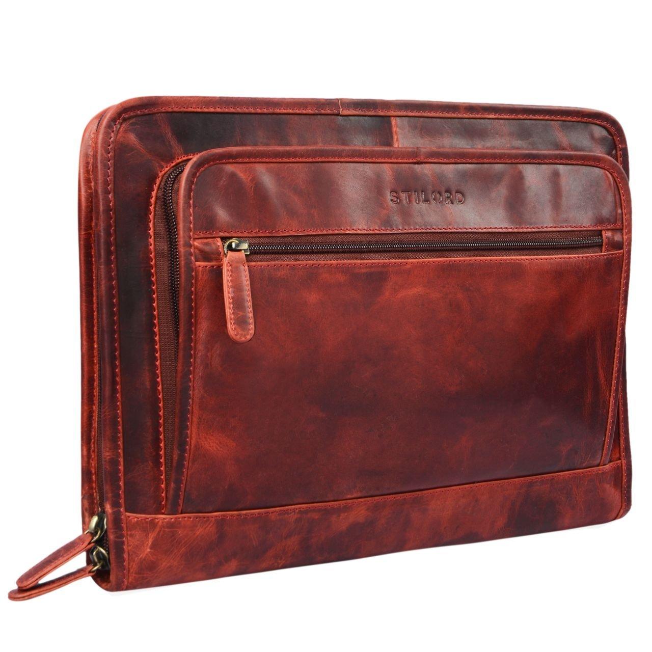 STILORD 'Maximilian' Folder leather 13,3 inch Vintage Notebook MacBook Case Bag Cover Briefcase Envelope Netbook, Colour:dark - brown