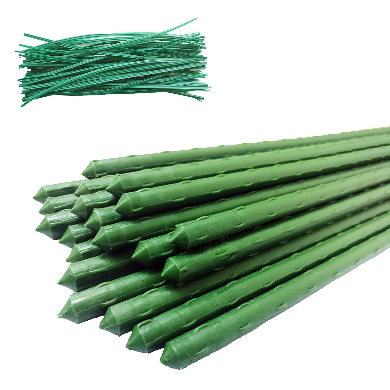 OAKBAY 30 Pack of 4 feet, Extra-Strong Metal Plant Garden Stake, Plus Complimentary 50 Twist Ties, 4 Feet Plant Support (4')