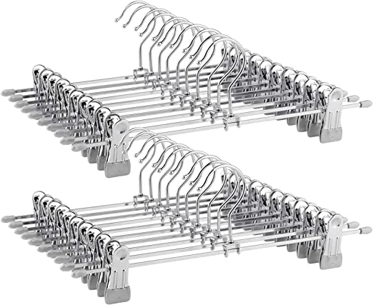 Ajustables Perchas Antideslizantes para Pantalones Met/álicas SONGMICS 40 Unidades 31 x 10,5 cm CRI003-40