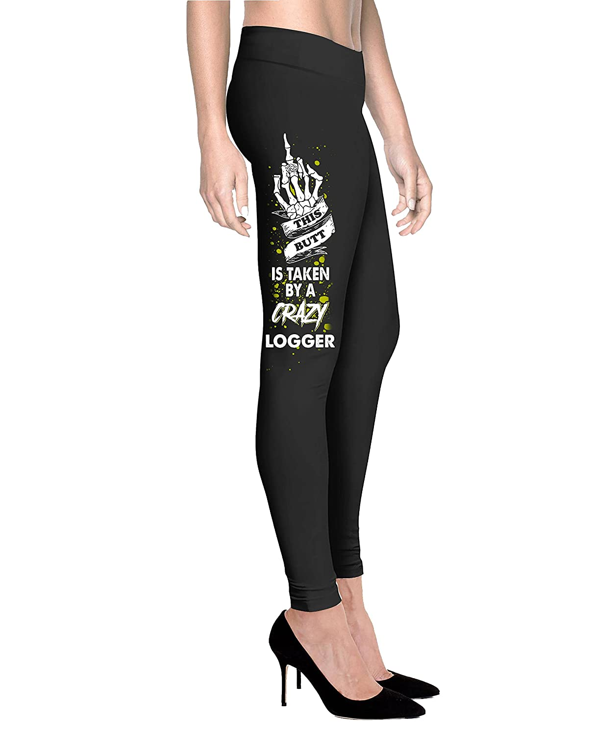 Gearbubble This Butt Is Taken by a Crazy Logger Husband - Women Comfort Fit Legging - Black