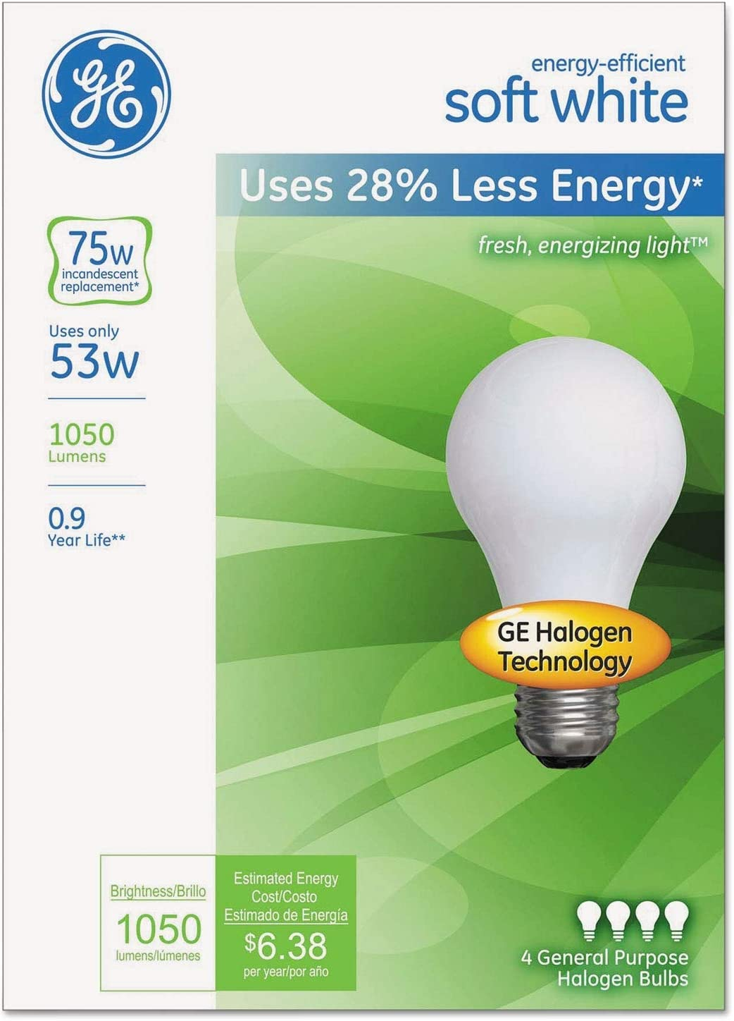 12 Pack New GE Energy-Efficient Soft White 53 Watt A19
