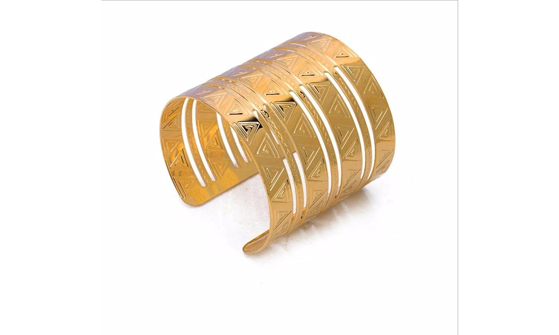 Global Huntress Gold Cuff Bracelet one 18K Gold Plated Geometrical Carved Texture Open End Cuff Bangle Bracelet Global Hunterss M042