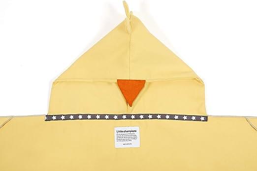 Microfibra amarillo Fabricado en Espa/ña 0 a 4 a/ños 110x55cm Capa de Ba/ño Montessori Pollito con manoplas para usar sin ayuda de un adulto y Bolsita a juego