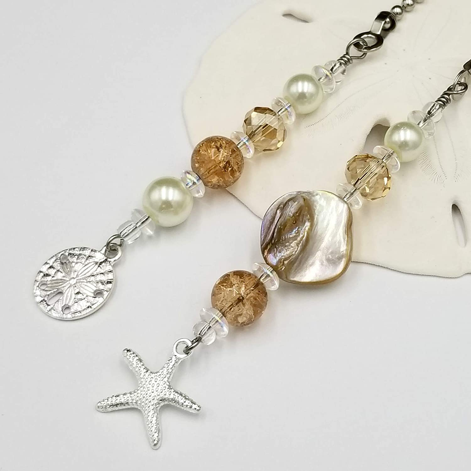 Beach Theme Ceiling Fan and Light Pull Set with Neutral Colors