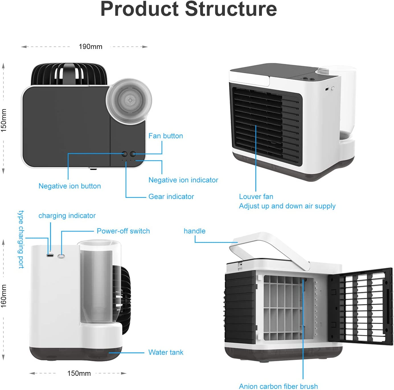 IVSO Air Conditioner Unit Mini, Portable Air Conditioning, Personal Mini Air Coolers, 4 in 1 Air Conditioners, Humidifier, Purifier, Usb air