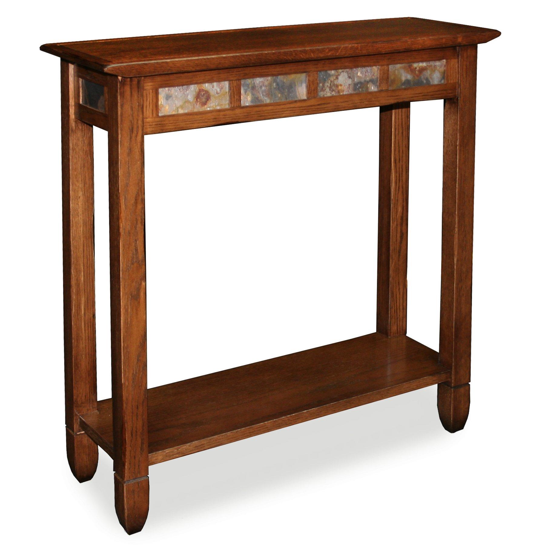 Rustic Slate Hall Stand - Rustic Oak Finish