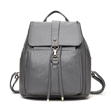 359cc418cab92 Hochwertig PU Leder Rucksack Damen Mädchen Rucksackhandtaschen Daypacks  Rucksäcke für Uni Reise (Grau)
