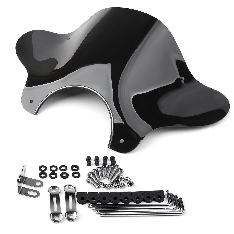 Areyourshop universale moto Cruiser parabrezza parabrezza con kit di montaggio fumo