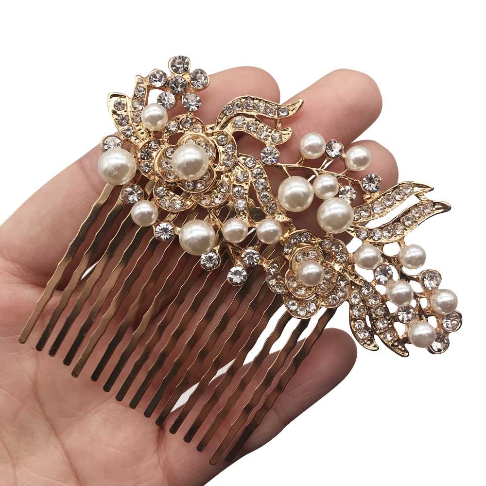 Missgrace Bridal Rhinestone Flower Hair Comb Vintage Women Headpeice Wedding Hair Accessories