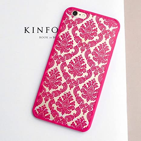 best sneakers dd979 03a77 KC 3D Beautiful Retro Hollow Out Carving Flower Design Case Semi Hard Back  Cover for iPhone 5s & SE - Pink Colour