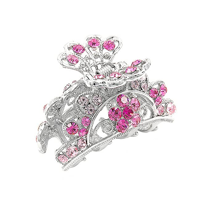 Glamorousky Elegant Clamp In Pink Austrian Element Crystals 686