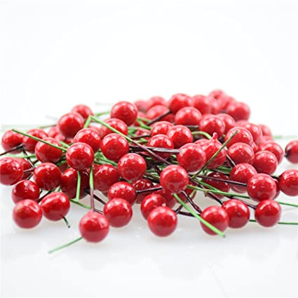 100pcs artificial red holly berry 10mm pick branch wreath for christmas tree decoration for christmas tree