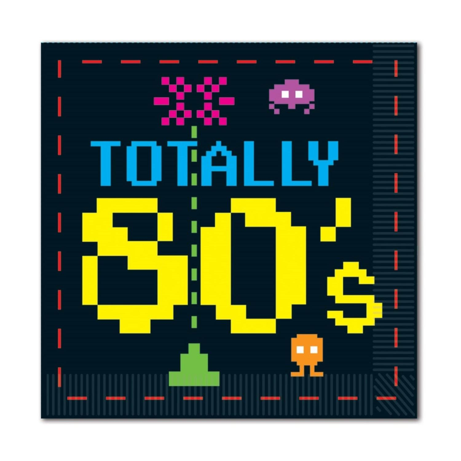 Club Pack of 192ネオンTotally 80のPixelated文字2重Luncheon Napkins B016WGOW40