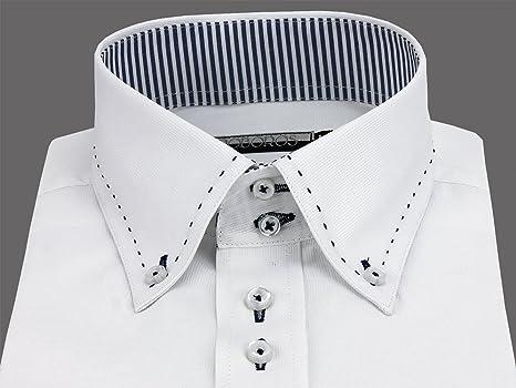 296d7db0b5c663 Amazon | 【601】LL スリム 形態安定 半袖 ワイシャツ 4サイズ(S・M・L・LL)【白ドビーx内衿ネイビー】 2連ボタン | シャツ  通販