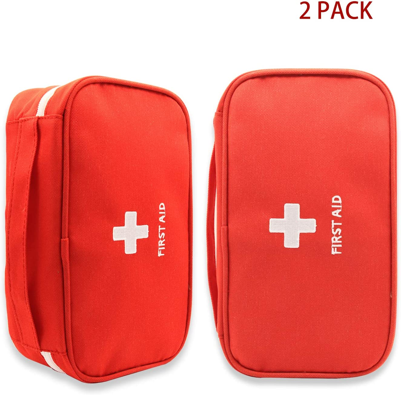 Portable First Aid Empty Kit Pouch Tote Small First Responder Storage Bag Compact Emergency Survival Bag Medicine Bag for Home Office Travel Camping Sport Backpacking Hiking Cycling Outdoor,RED