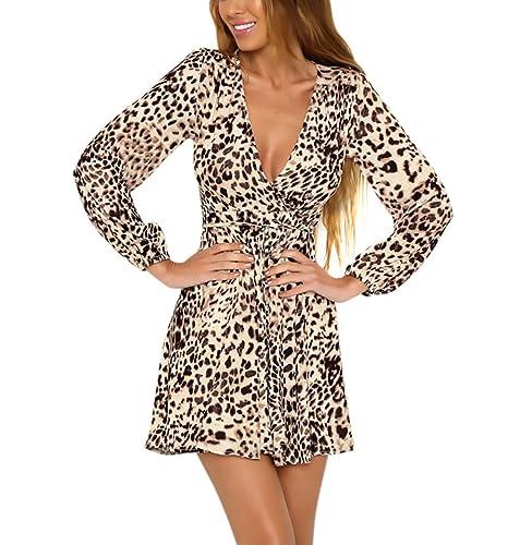 ... Vestiti Donna Eleganti Da Cerimonia Da Sera Cocktail Festa Abito Vintage  Leopard Manica Lunga V Scol b8da5bb4246