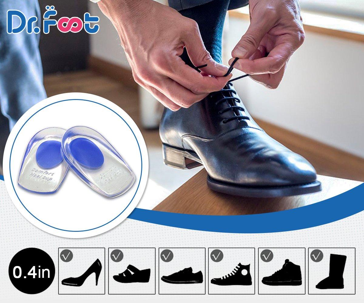 Dr. Foot\'s Heel Cushion Pad Insoles-high shock pressure absorption anti-slip PU Gel - 2 Pcs(Blue-Men\'s)