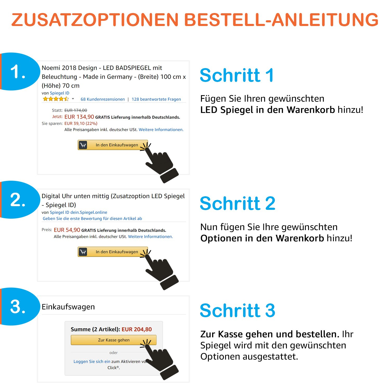 Spiegel ID ID ID dein.Spiegel.online Noemi 2019 Design  LED BADSPIEGEL mit Beleuchtung - Made in Germany - individuell nach Maß - Auswahl  (Breite) 120 cm x (Höhe) 80 cm 1da092