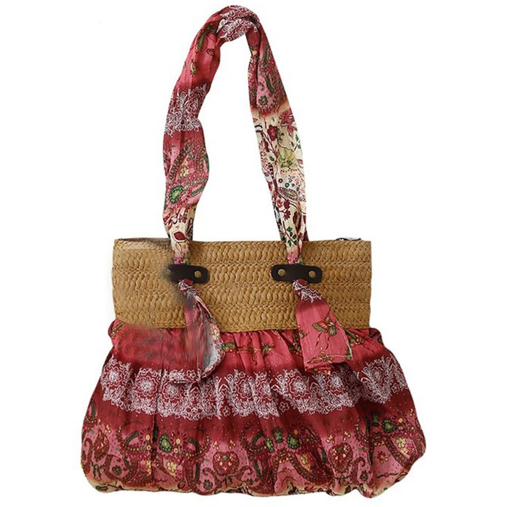 Donalworld Bohemia Floral Straw Woven Bags Summer Beach Shoulder Bag Red