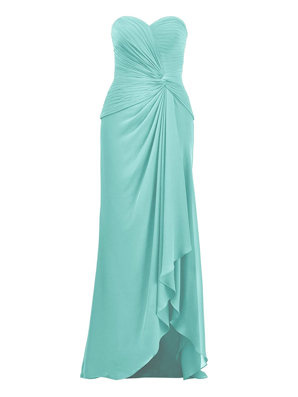 Hi-Lo Chiffon Bridesmaid Dresses Strapless Evening Party Prom Gowns Custom Made