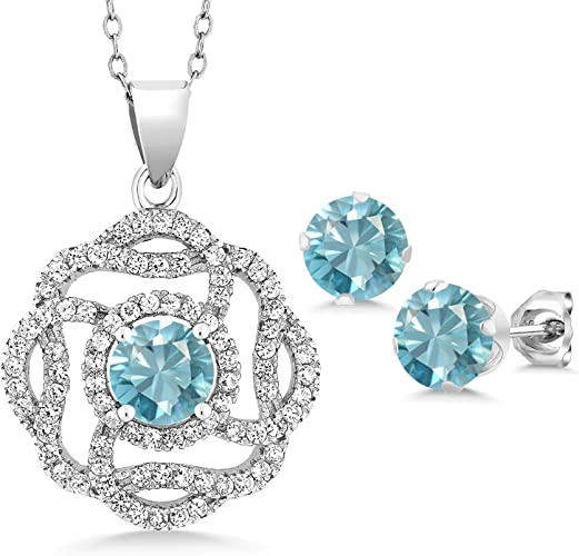 Gem Stone King 1.20 Ct Oval Blue Zircon 925 Sterling Silver Pendant With Chain