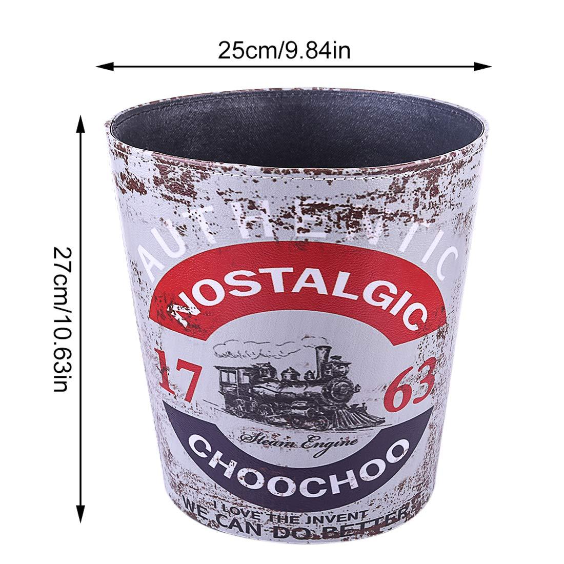 25 ALLESOK 10L Cuero Vintage Papelera,Oficina Cubo de Basura Habitacion Papelera 25 27CM