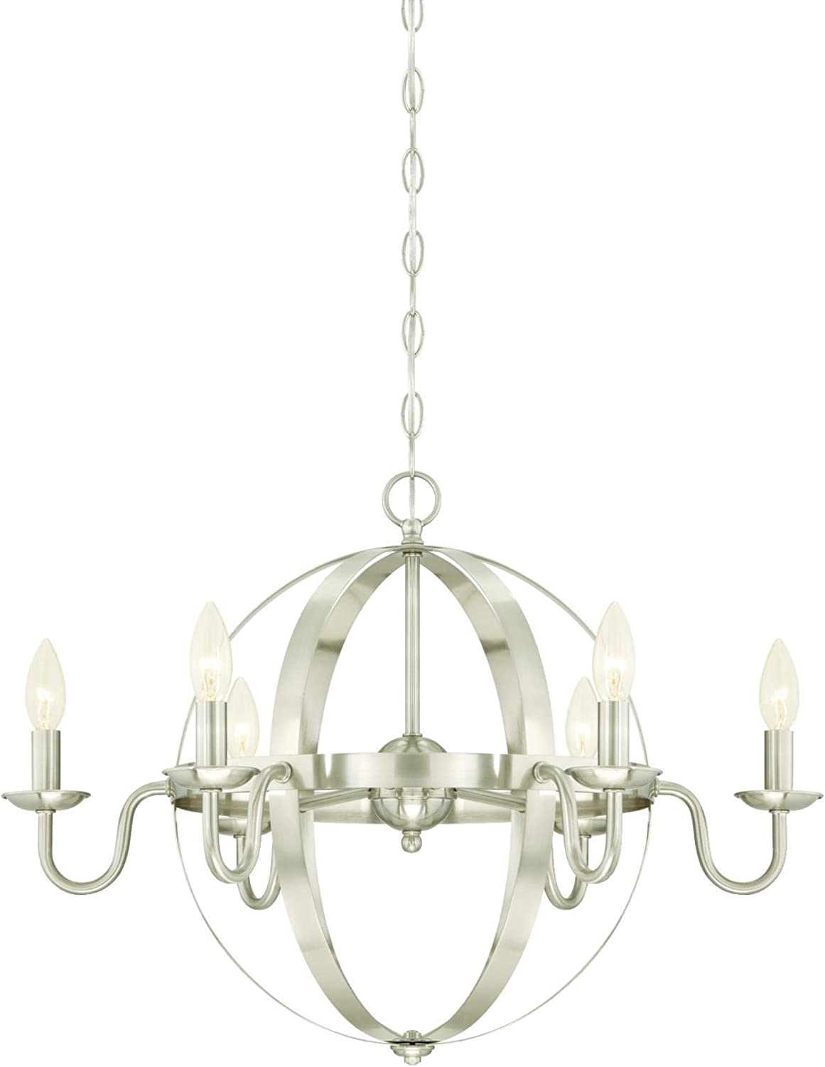 Westinghouse Lighting 6303100 Brixton Six-Light Indoor Chandelier, Brushed Nickel Finish,