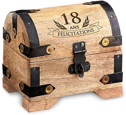 Tirelire Cadeau danniversaire marrant et original Casa Vivente AZ-FR-7020-0116-18 Coffret dargent pour lanniversaire avec gravure Coffret à bijoux Coffret rustique Petit//Clair Boîte de rangement en bois