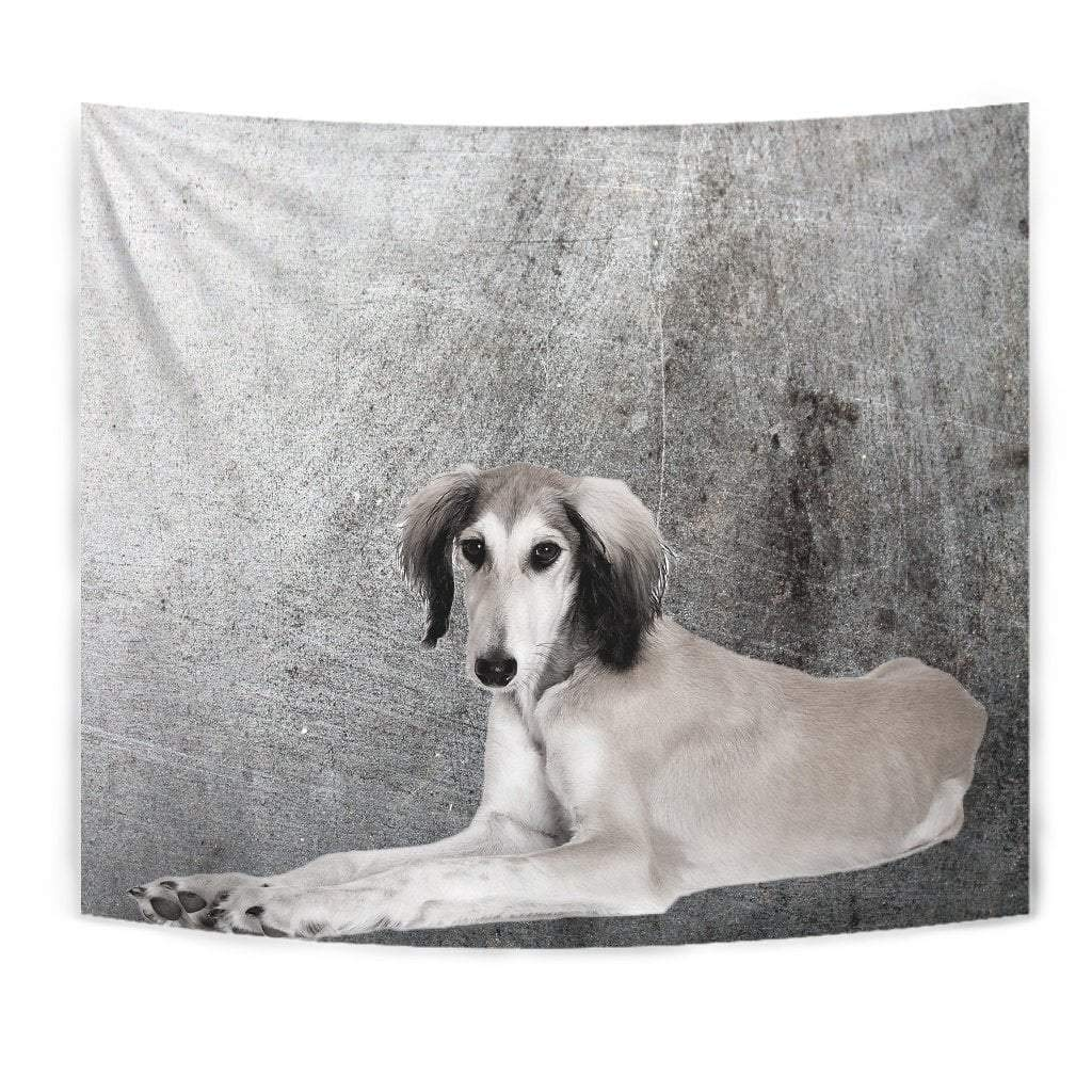 Cute Saluki Dog Print Tapestry by Paws With Attitude