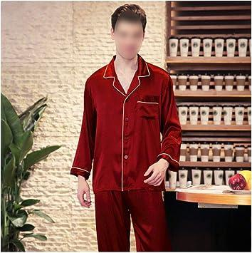 Conjunto de pijama para hombre de seda satinada y manga larga ...