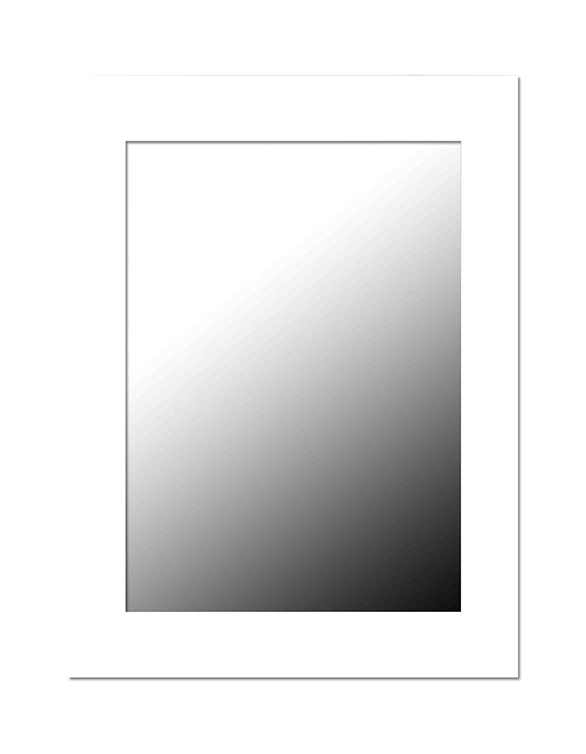Home Basics Contemporary Rectangle Wall Mirror, Hangs Vertical Or Horizontal, (White)