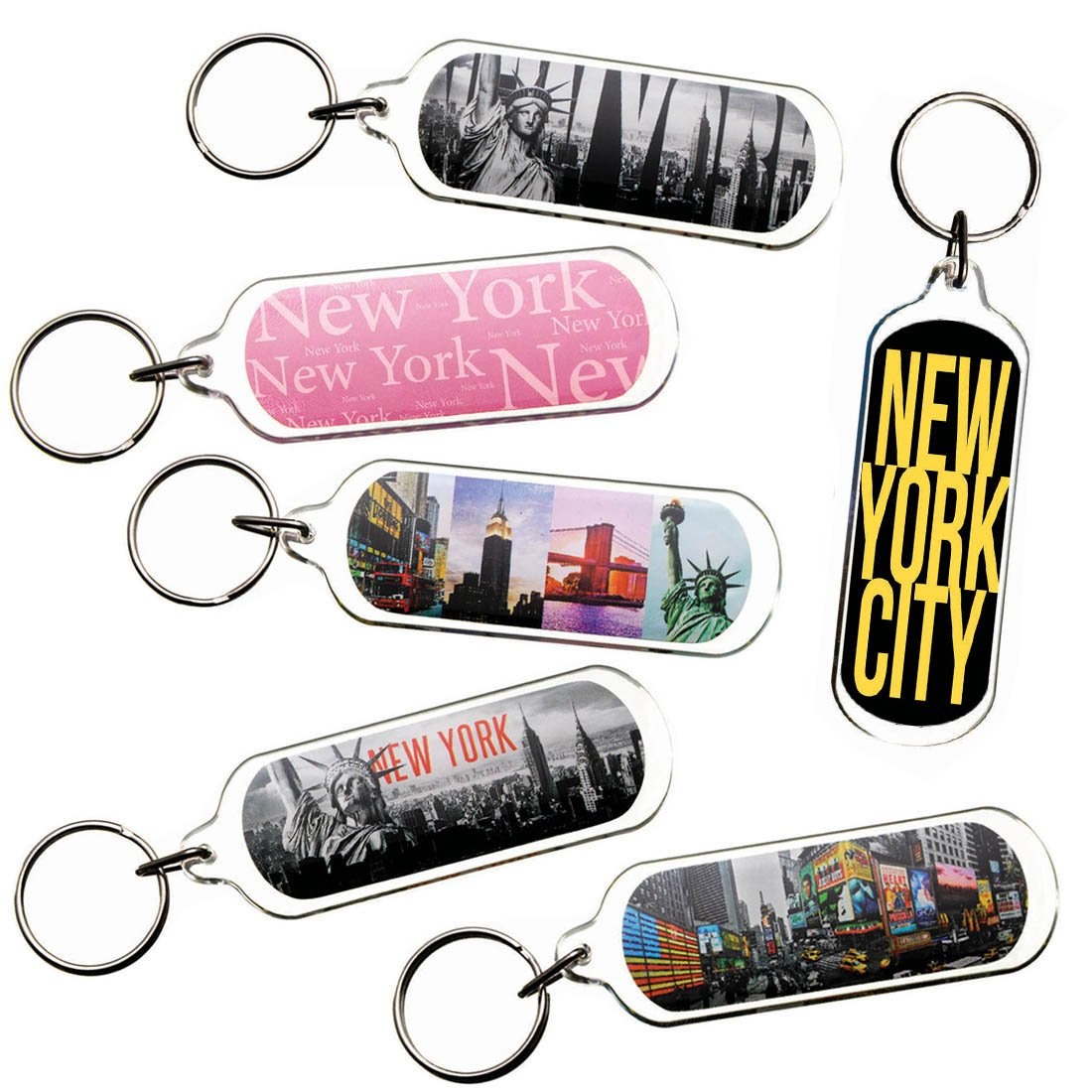 Ultimate Collectible New York NY NYC Manhattan Landmarks Photo Keychain Key Ring Gift Souvenir Set (18pk_SetA)