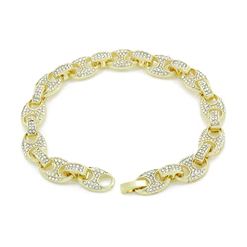 811f3b159 Bling Bling NY Mens Iced Out Mariner Link Choker Necklace/Bracelet Gold  Finish Lab Created