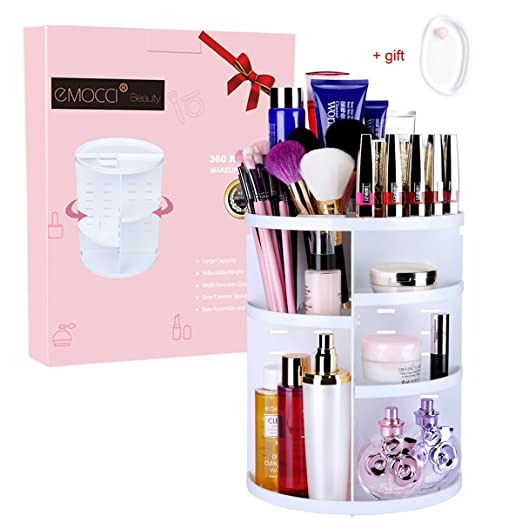 360 Degree Rotating Makeup Organizer, DIY Adjustable Make Up Vanity