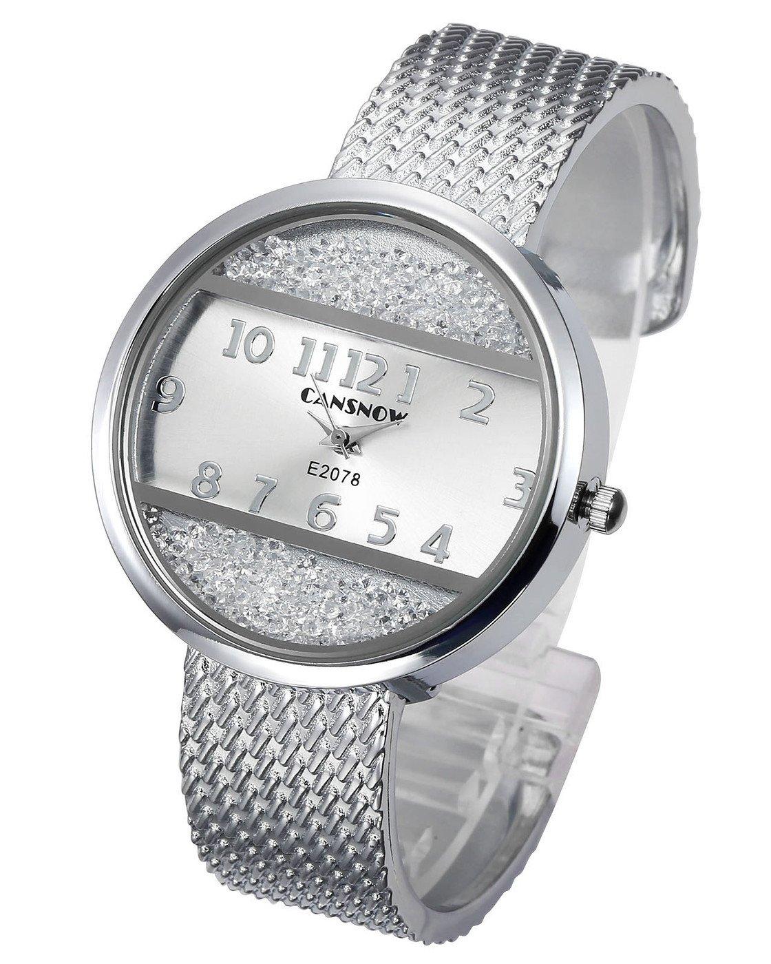 Top Plaza Women Ladies Casual Luxury Gold Silver Tone Alloy Analog Quartz Bracelet Watch Round Case Rectangle Dial Rhinestones Decorated Elegant Dress Bangle Cuff Wristwatch-Silver #2