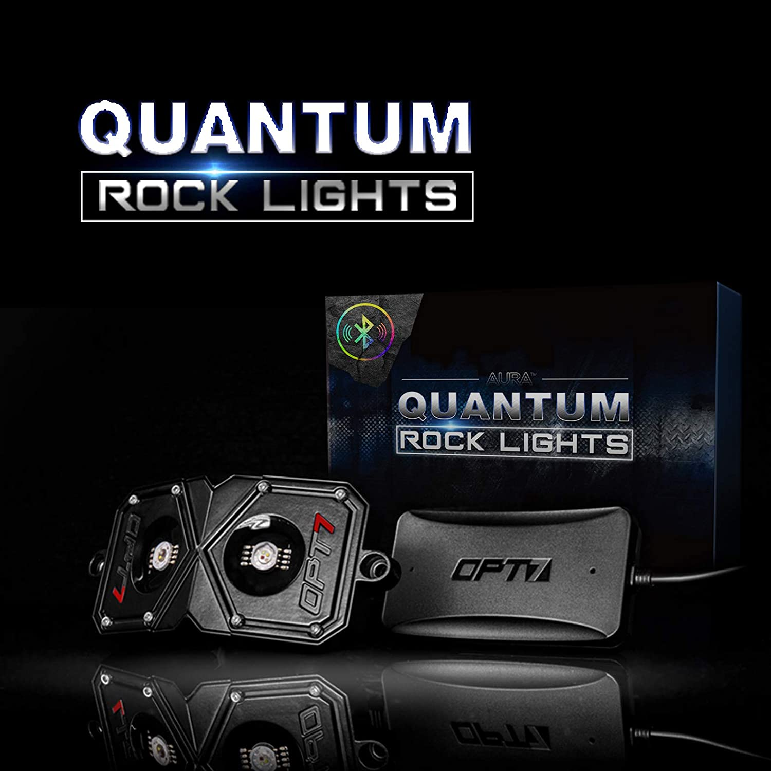 OPT7 Quantum Pro 4pc Rock RGBW Multicolor with Bluetooth Controller-Dimmer Strobe Fade IP67 Waterproof Pods Off Road Crawling Climbing Neon LED Light Kit