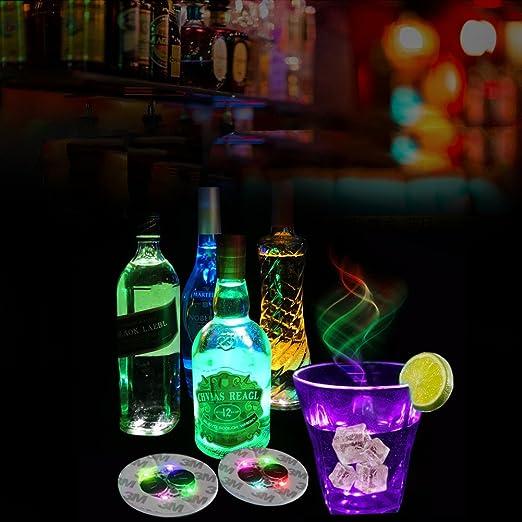 Posavasos con luces rojas para botellas de vino, cristal transparente, posavasos para fiestas de Halloween, bodas, bares, decoración de fiestas 7pcs: ...