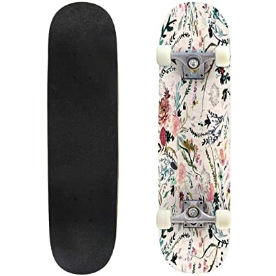 "Fable Floral Outdoor Skateboard 31""x8"" Pro Complete Skate Board Cruiser 8 Layers Double Kick Concave Deck Maple Longboards for Youths Sports : Sports & Outdoors"