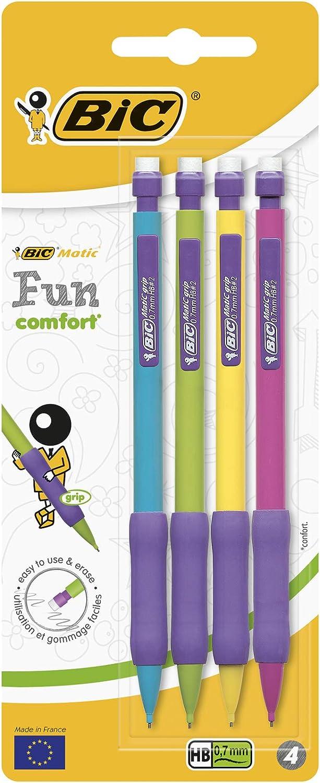 BIC Matic Fun Comfort Portaminas Automático HB (0,7 mm) – Diseño en colores Surtidos, Blíster de 4 unidades