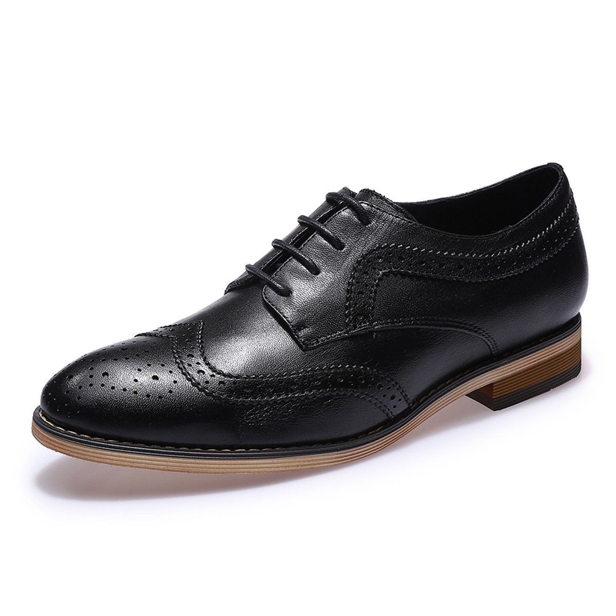 Vintage Style Shoes, Vintage Inspired Shoes Mona flying Womens Leather Perforated Lace-up Oxfords Brogue Wingtip Derby Saddle Shoes for Girls ladis Womens $89.99 AT vintagedancer.com