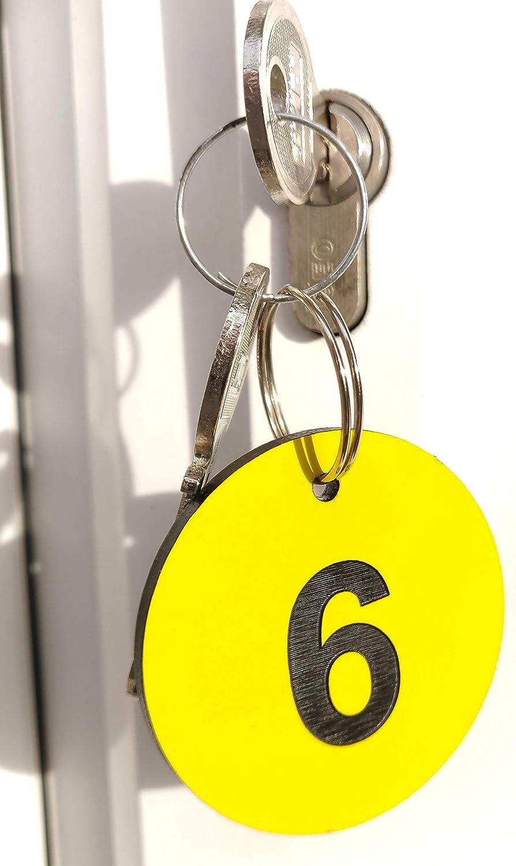 Chambres dh/ôtes B/&B Entreprise OriginDesigned Porte-cl/és circulaires num/érot/és de 1 /à 5 en Plastique Acrylique Jaune avec num/éros grav/és Noirs pour h/ôtels