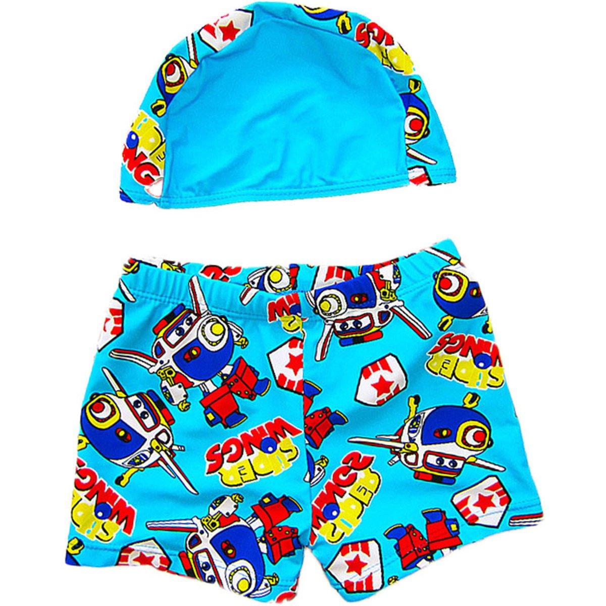JELEUON Baby Kids Infants Toddler Boys Cute Cartoon Swimming Trunks Beach Short Pants With Cap
