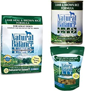Natural Balance Limited Ingredient Dog Food And Treats, Lamb Meal & Brown Rice Formulas Bundle: 28-Pound Bag Dry Dog Food, 13-Ounce (Pack Of 12) Cans Wet Dog Food, 14-Ounce Bag L.I.T. Dog Treats