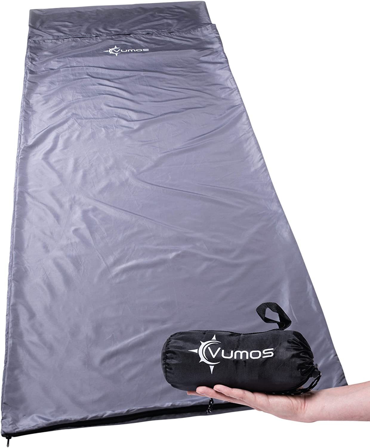 Vumos Sleeping Bag Liner and Camping Sheet Silk Like Material for Travel – Has Full Length Zipper