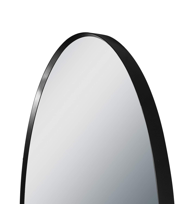Specchio da Parete con Cornice in Alluminio di Alta qualit/à 60 cm Talos Black Circle Design Colore: Nero Opaco