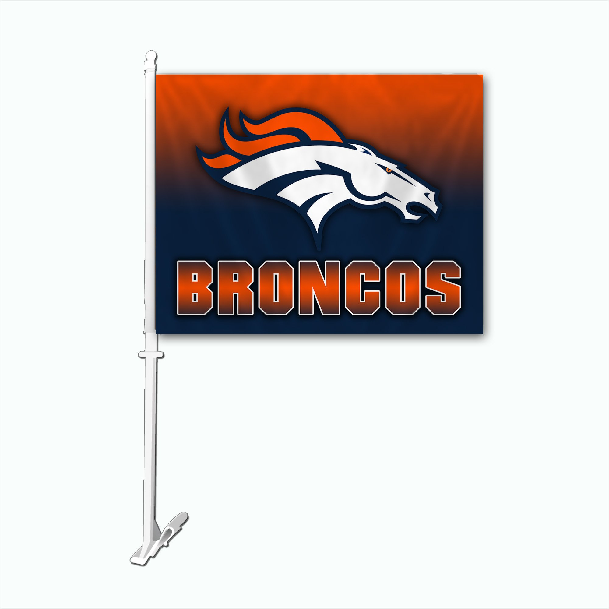 NFL Denver Broncos Car Flag with Wall Bracket, Team Color