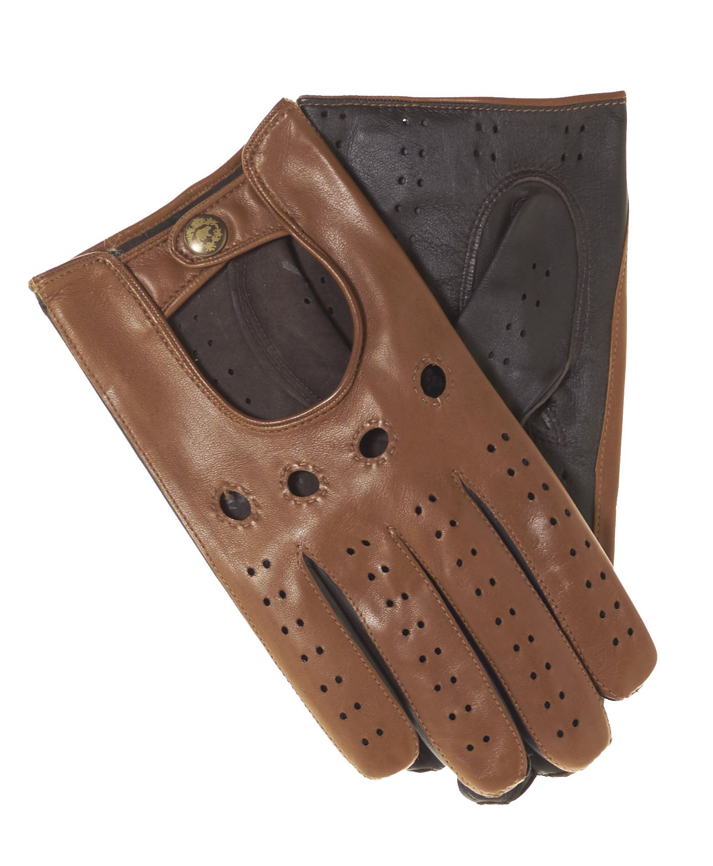 Fratelli Orsini Men's Italian Touchscreen Leather Driving Gloves Size 9 Color Camel/Brown