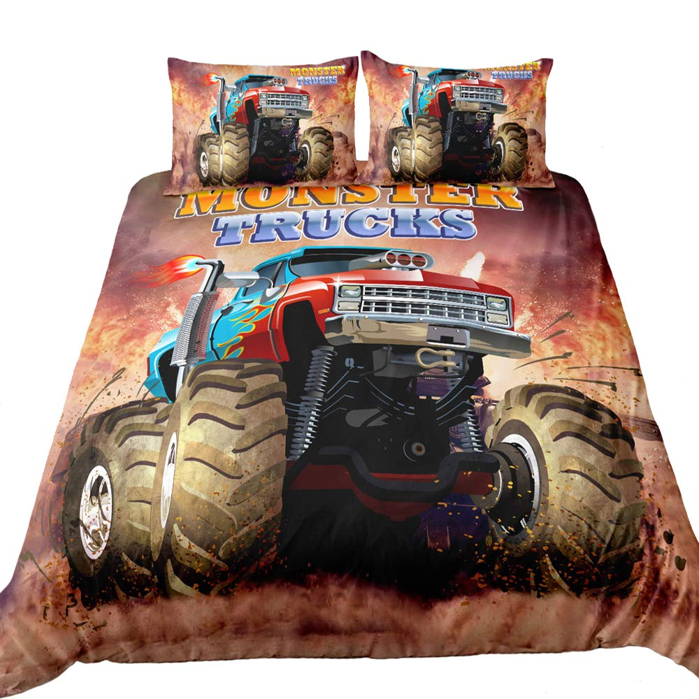 Suncloris,3D Monster Truck Home Bedding,Monster Truck Off Road Mud Fighting Crazy Monster Truck Duvet Cover Sets.Included: Duvet Cover,Pillowcase(no Comforter Inside) (Queen)